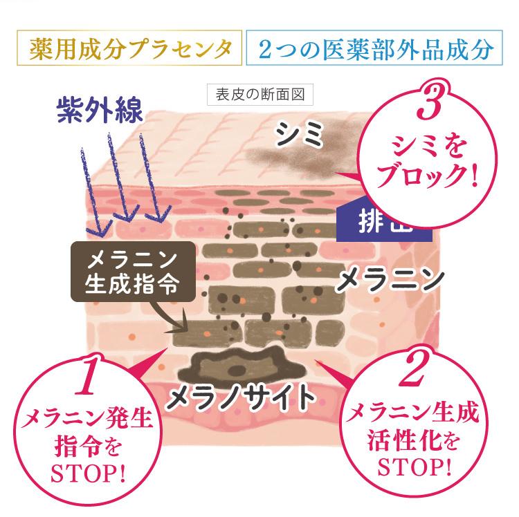 3つの角度からシミの発生を徹底的に防ぎます