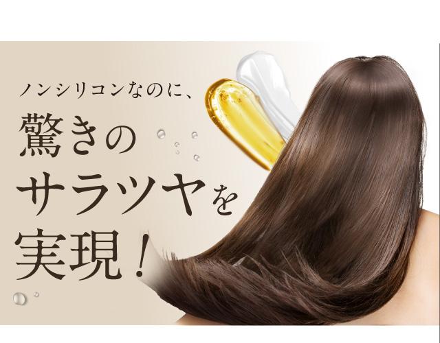 ノンシリコンなのに、驚きのサラツヤ髪を実現!