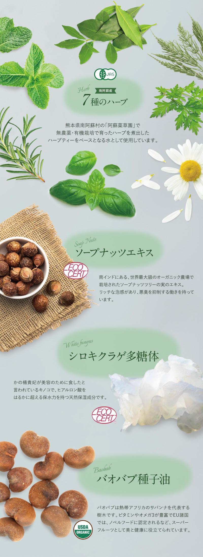 南阿蘇産7種のハーブ ソープナッツエキス シロキクラゲ多糖体 バオバブ種子油