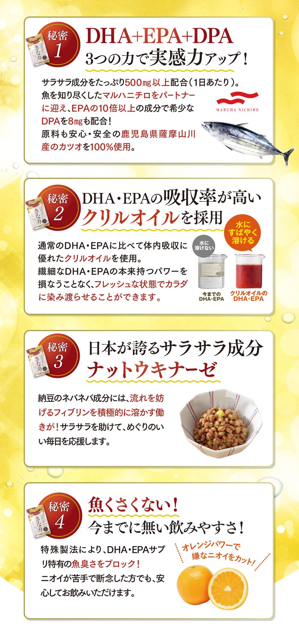 DHA・EPA・DPAの3つの力で実感力アップ!DHA・EPAの吸収率が高いクリルオイル、サラサラ成分のナットウキナーゼ配合!魚臭くなくて飲みやすい!