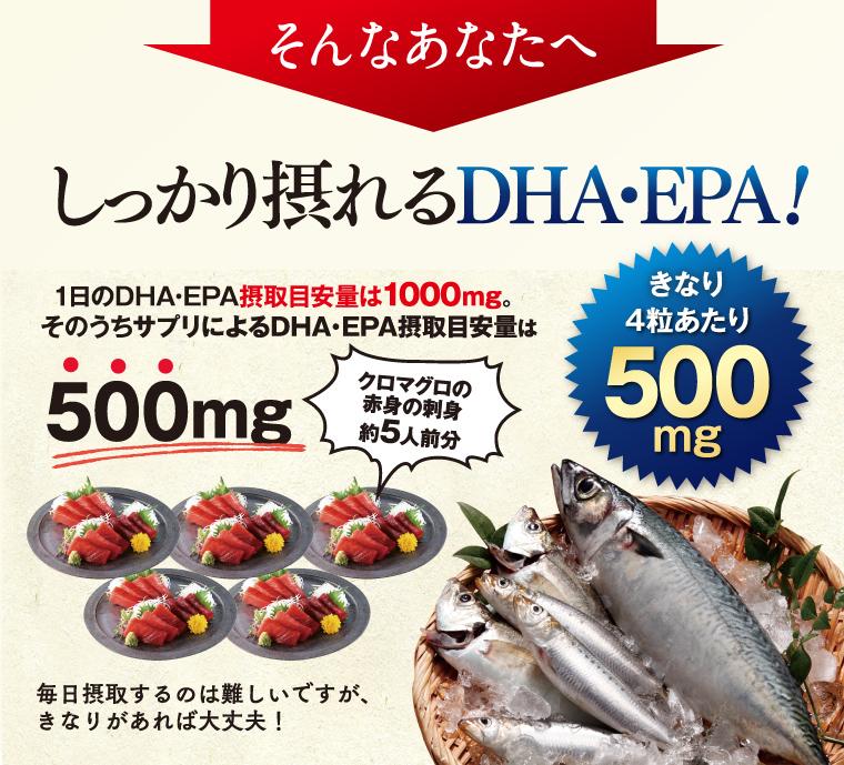 そんなあなたにしっかり摂れるDHA・EPA。1日のDHA・EPA摂取目安量1000㎎のうち500㎎を4粒に凝縮。クロマグロの赤身の刺身約5人前分の量です。