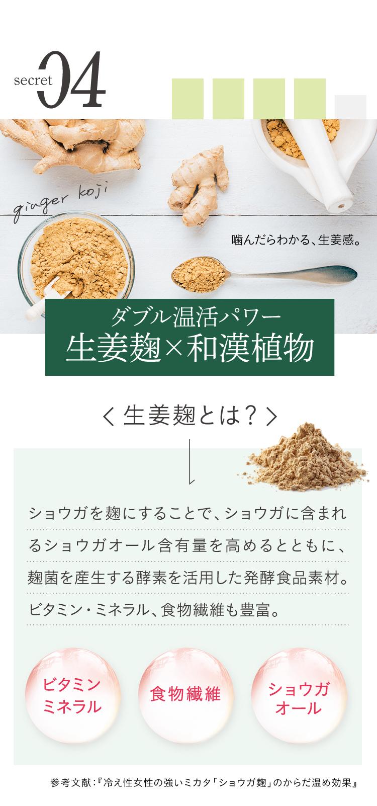 旬の実酵素の秘密4、ダブル温活パワー、生姜麹、和漢植物配合。生姜を麹にすることで生姜に含まれるショウガオール含有量を高めるとともに、麹菌を産生する酵素を活用した発酵食品素材。