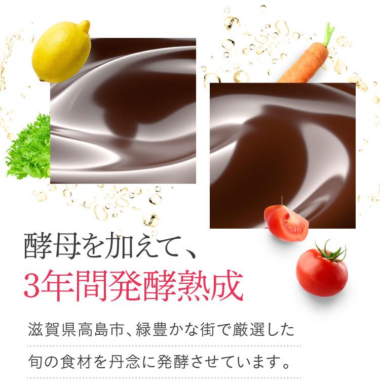酵母を加えて3年間発酵熟成。滋賀県高島市、緑豊かな街で厳選した旬の食材を丹念に発酵させています。