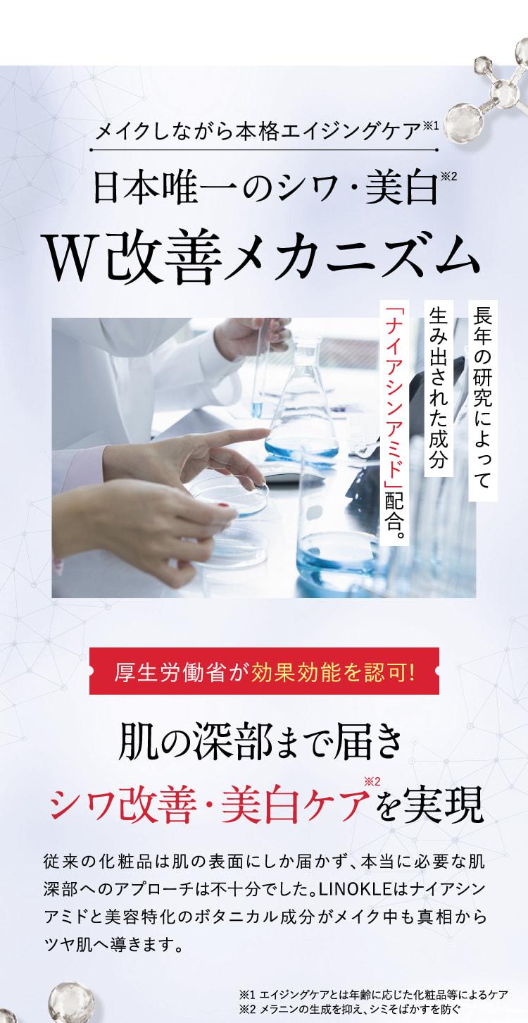 日本唯一のシワ・美白W改善メカニズム。