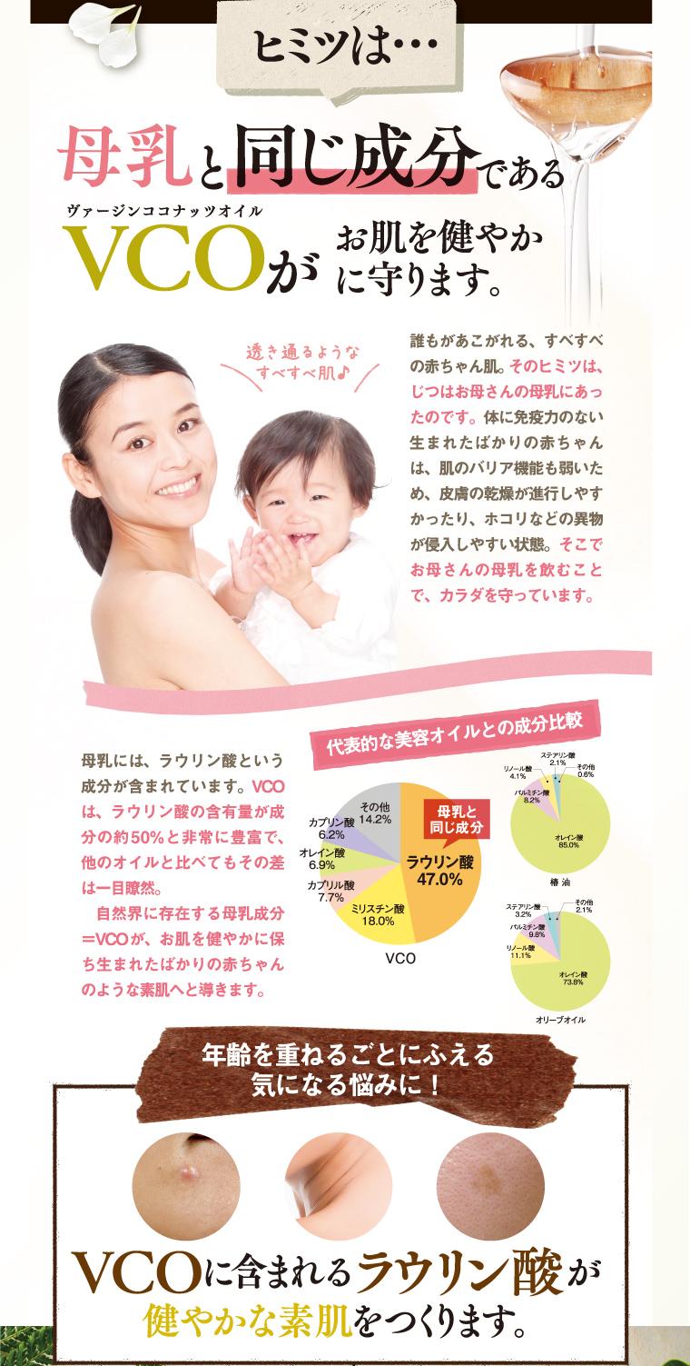 母乳と同じ成分であるVCOがお肌を健やかに守ります。