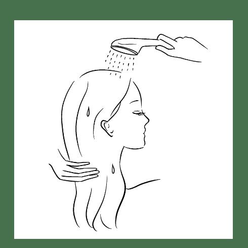 お湯で髪を濡らすイラスト