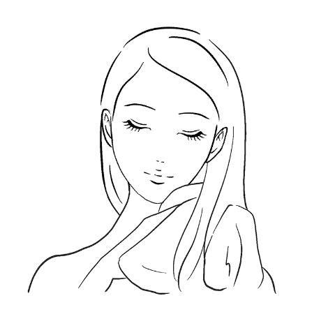 髪から水分をとるイラスト