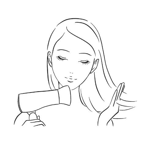 髪を乾かすイラスト