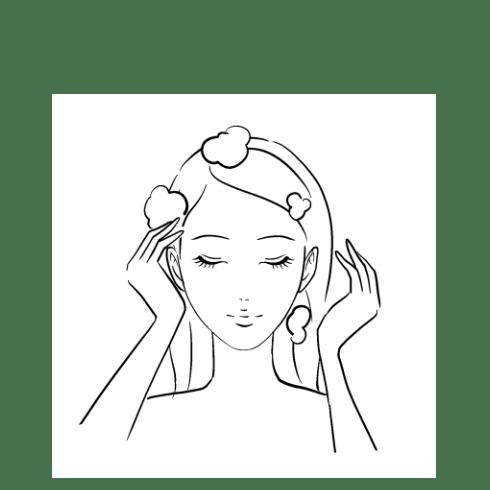 髪をお湯ですすでいるイラスト